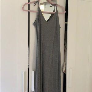 Ribbed long grey dress